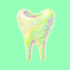 Multi-Colored Drawing of Tooth