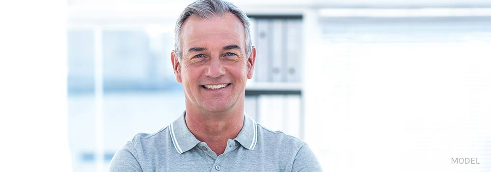 Smiling Middle Aged Caucasian Man in Polo